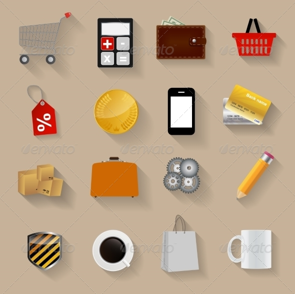 GraphicRiver Shopping Flat Icons Set Vector Illustration 6963576