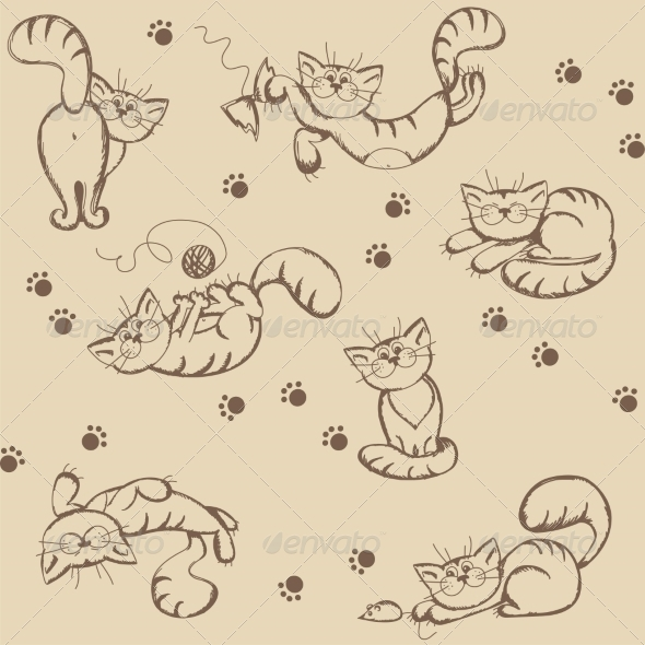 GraphicRiver Seamless Background with Playful Cats 6963617