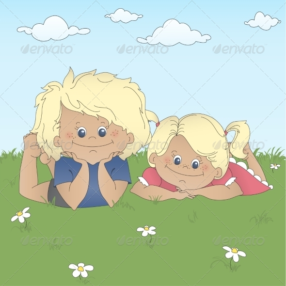 GraphicRiver Children Lying on Grass 6963813