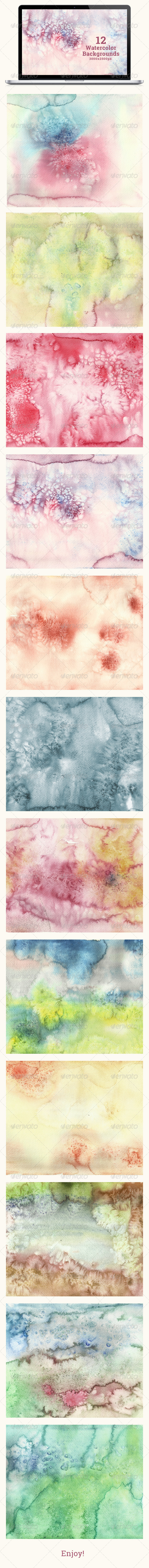 GraphicRiver Set of 12 Watercolor Backgrounds 6954744