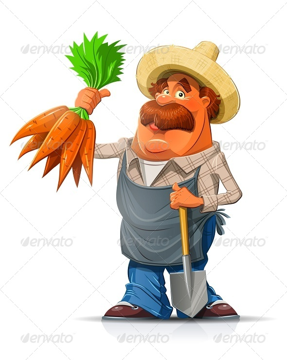GraphicRiver Gardener with Carrots and Shovel 6964153