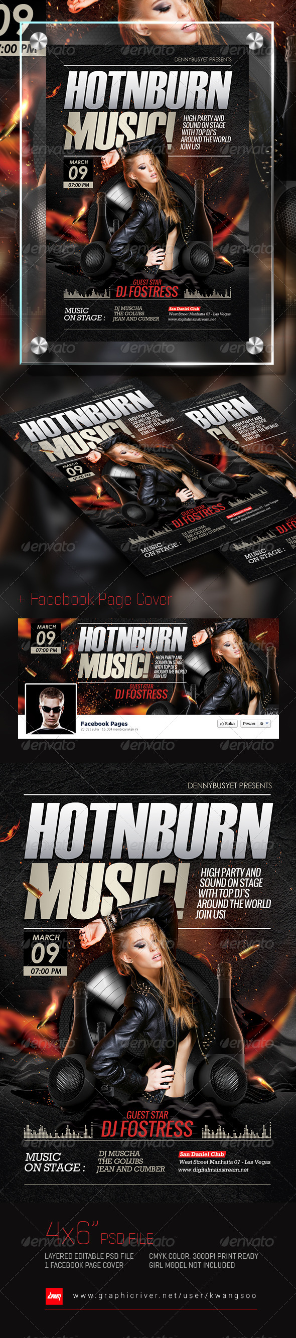 GraphicRiver Hot And Burn Music Flyer & Facebook Cover 6964288