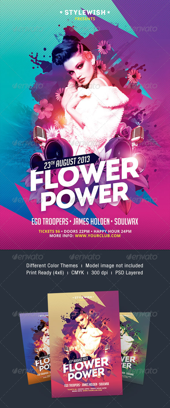 Flower Power Flyer - Clubs & Parties Events