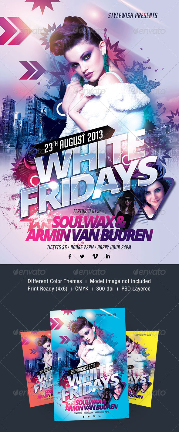 White Fridays Flyer - Clubs & Parties Events