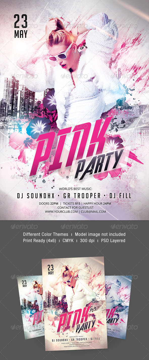 Pink Party Flyer - Clubs & Parties Events