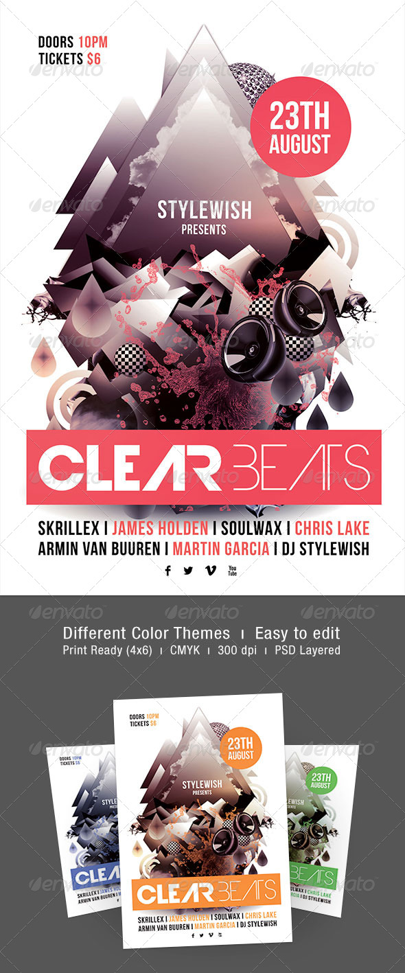 Clear Beats Flyer - Clubs & Parties Events