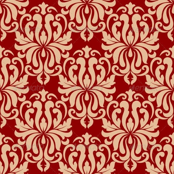 Ornate Arabesque Repeat Pattern on Red