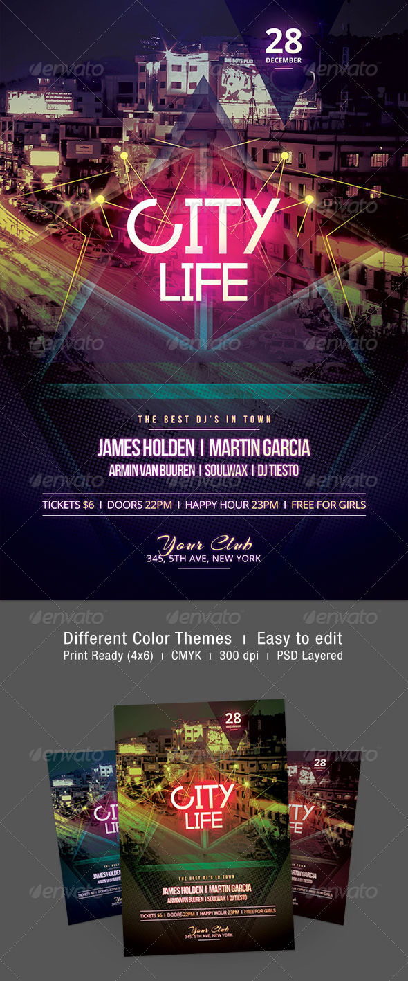City Life Flyer - Clubs & Parties Events