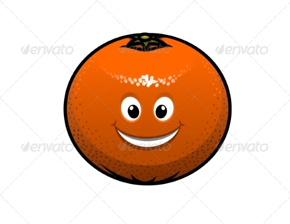 Cheerful Cartoon Orange Fruit