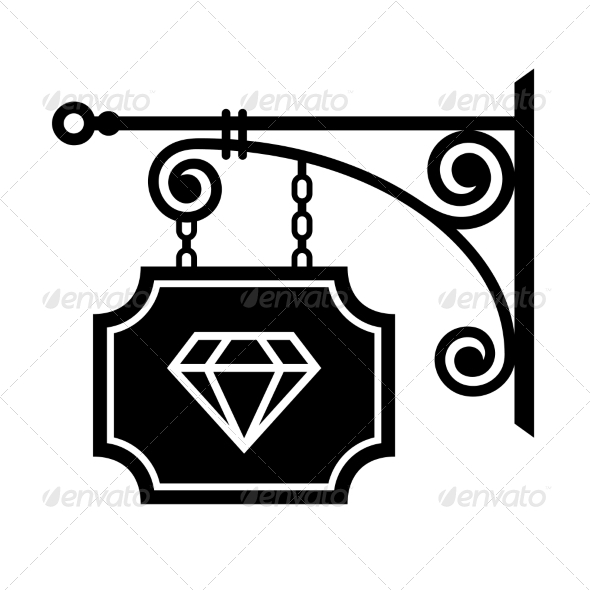 GraphicRiver Ancient Street Signboard of Jeweler 6964706