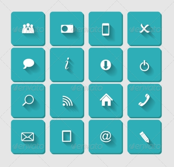 GraphicRiver Flat Icon Set for Web 6964710