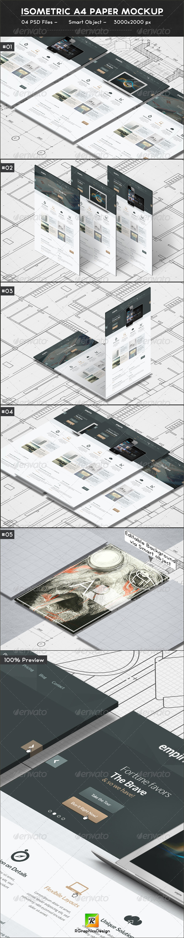 GraphicRiver Isometric A4 Paper Mockup 6964794