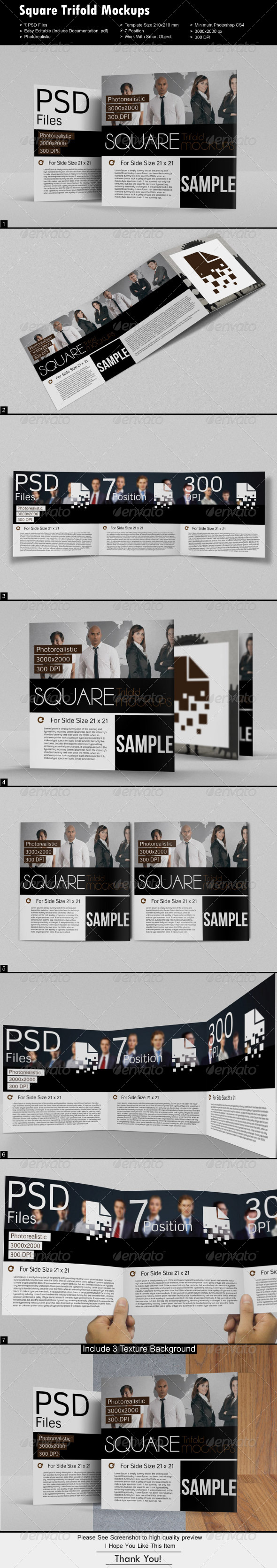 GraphicRiver Square Tri-fold Mock-Ups 6964836