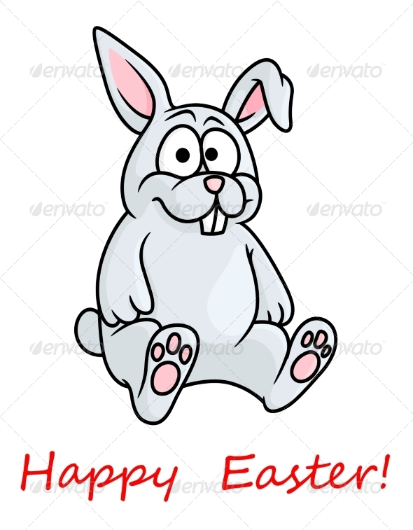 GraphicRiver Little Grey Easter Bunny 6964845
