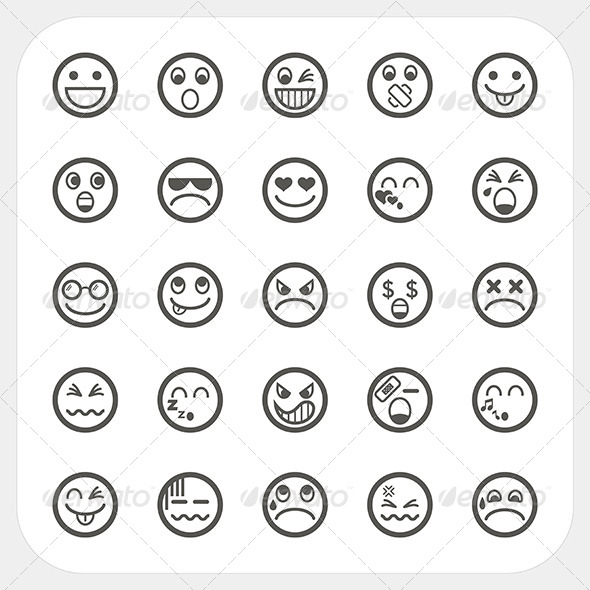 GraphicRiver Emotion Face Icons Set 6964931