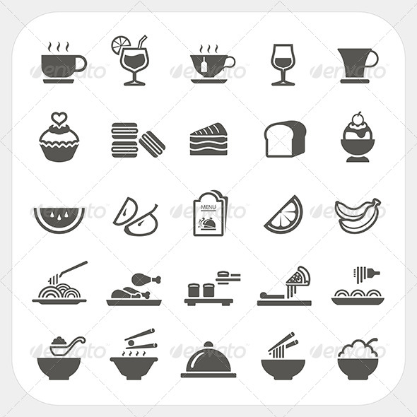 GraphicRiver Food and Beverage Icons Set 6964951