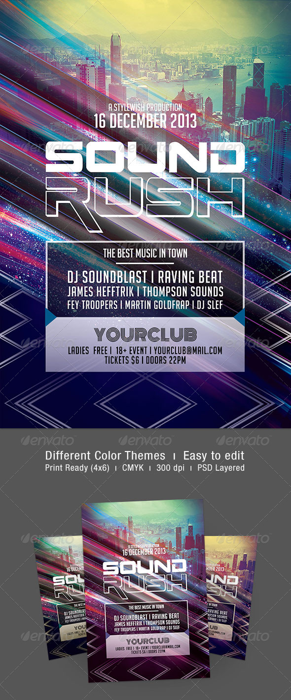 Sound Rush Flyer - Clubs & Parties Events