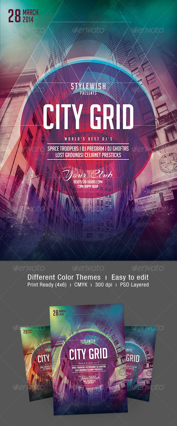 City Grid Flyer - Clubs & Parties Events