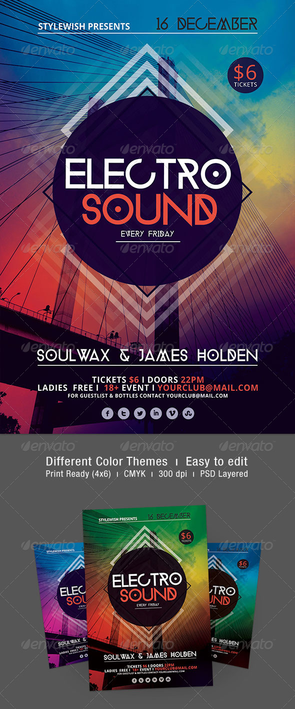 Electro Sound Flyer - Clubs & Parties Events