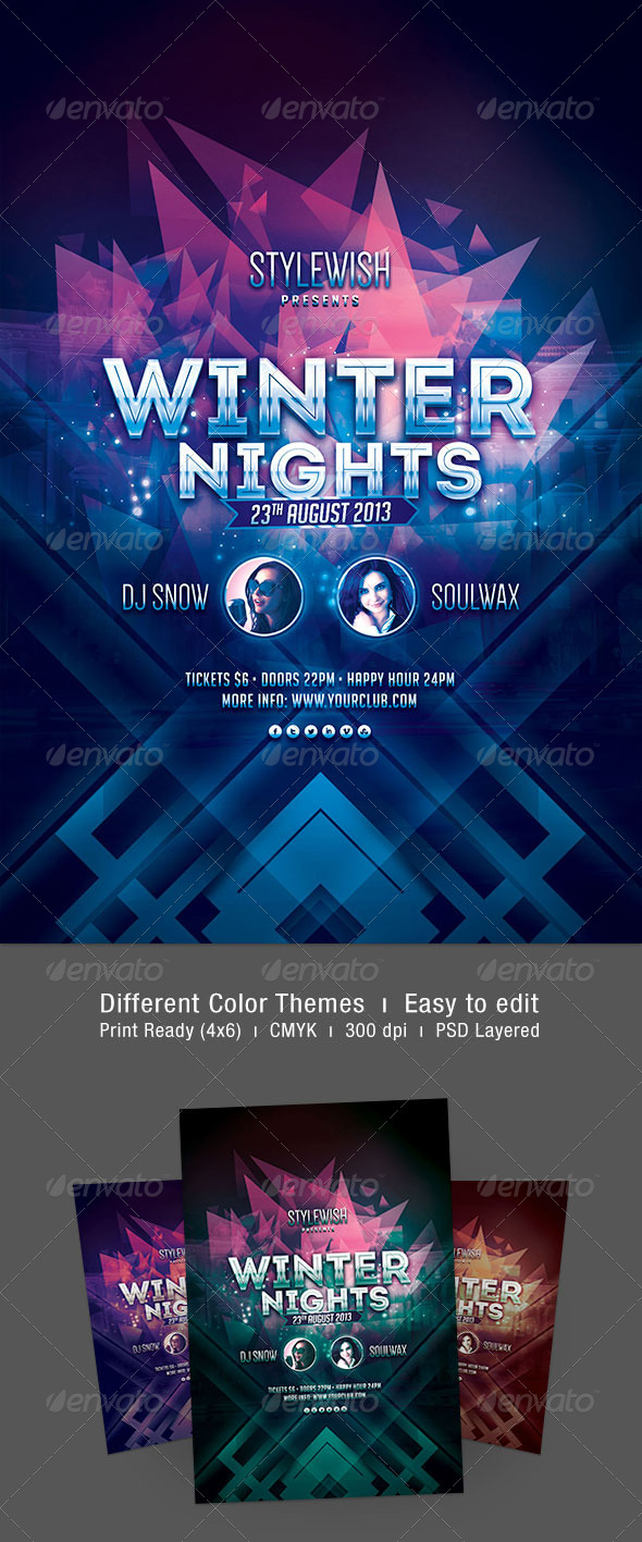 Winter Nights Flyer - Clubs & Parties Events