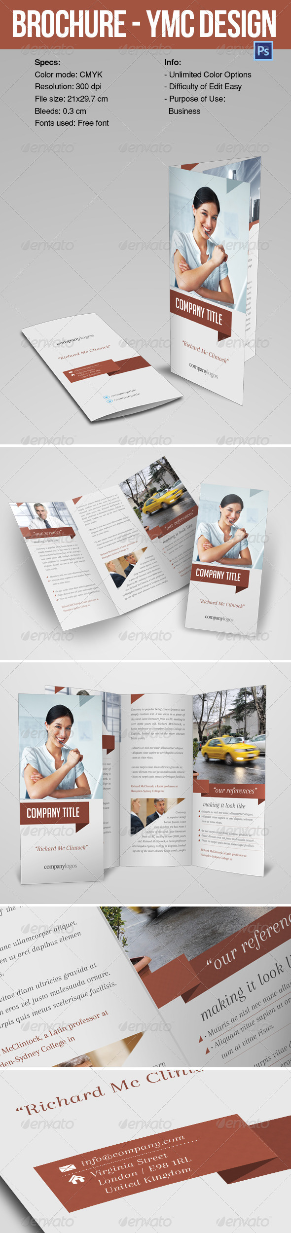 GraphicRiver Brochure Tri-fold YMC Design 6965035