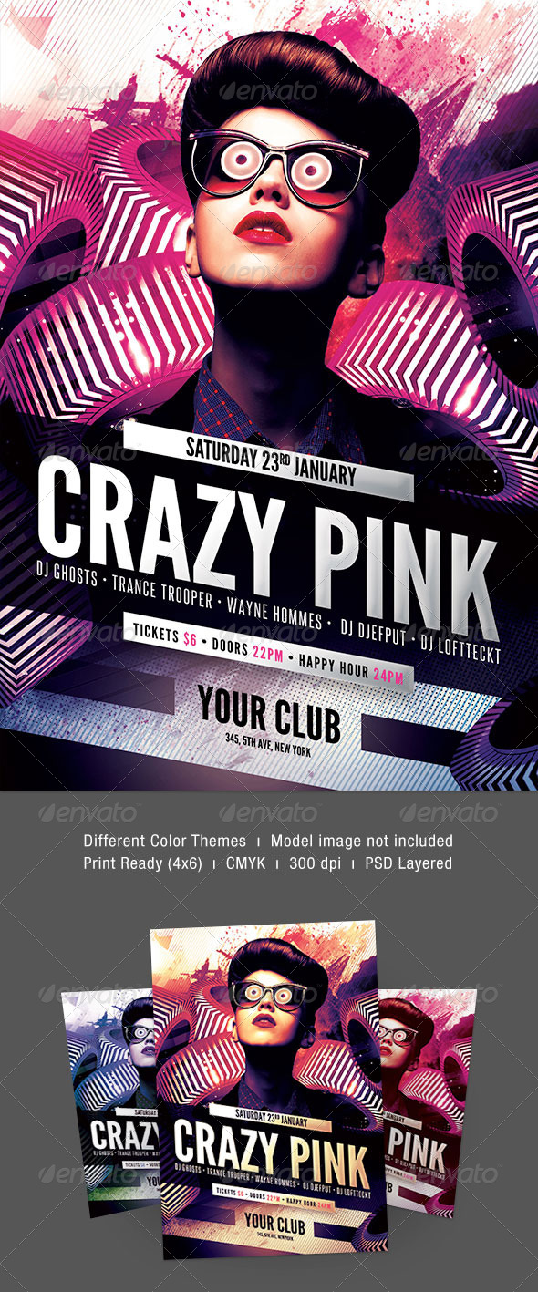 Crazy Pink Flyer - Clubs & Parties Events