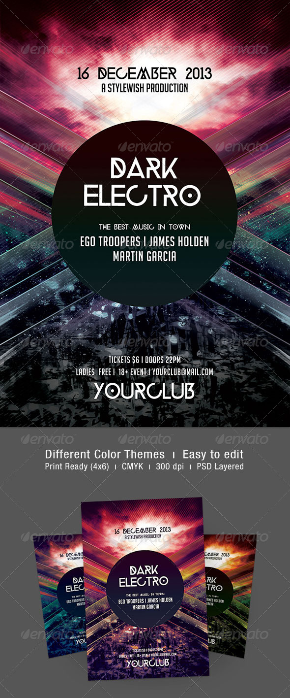 Dark Electro Flyer - Clubs & Parties Events