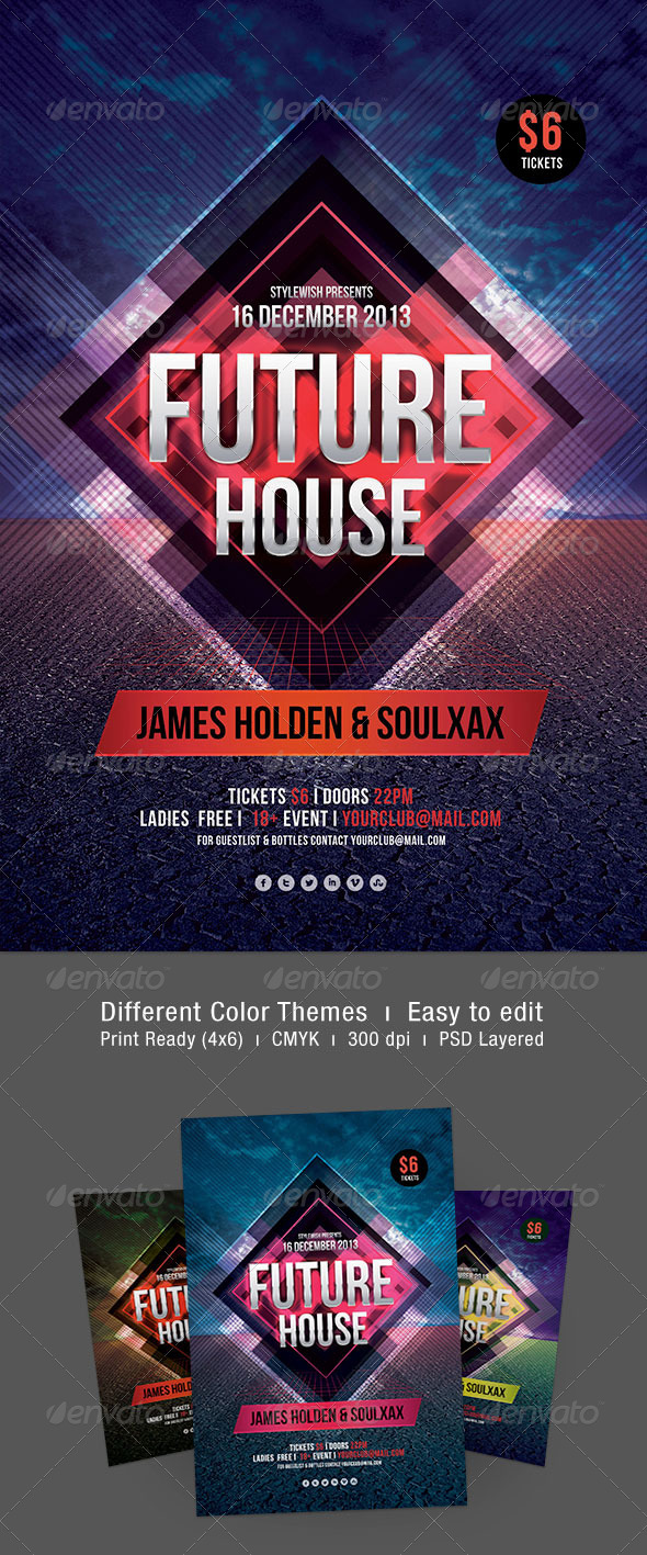 Future House Flyer - Clubs & Parties Events