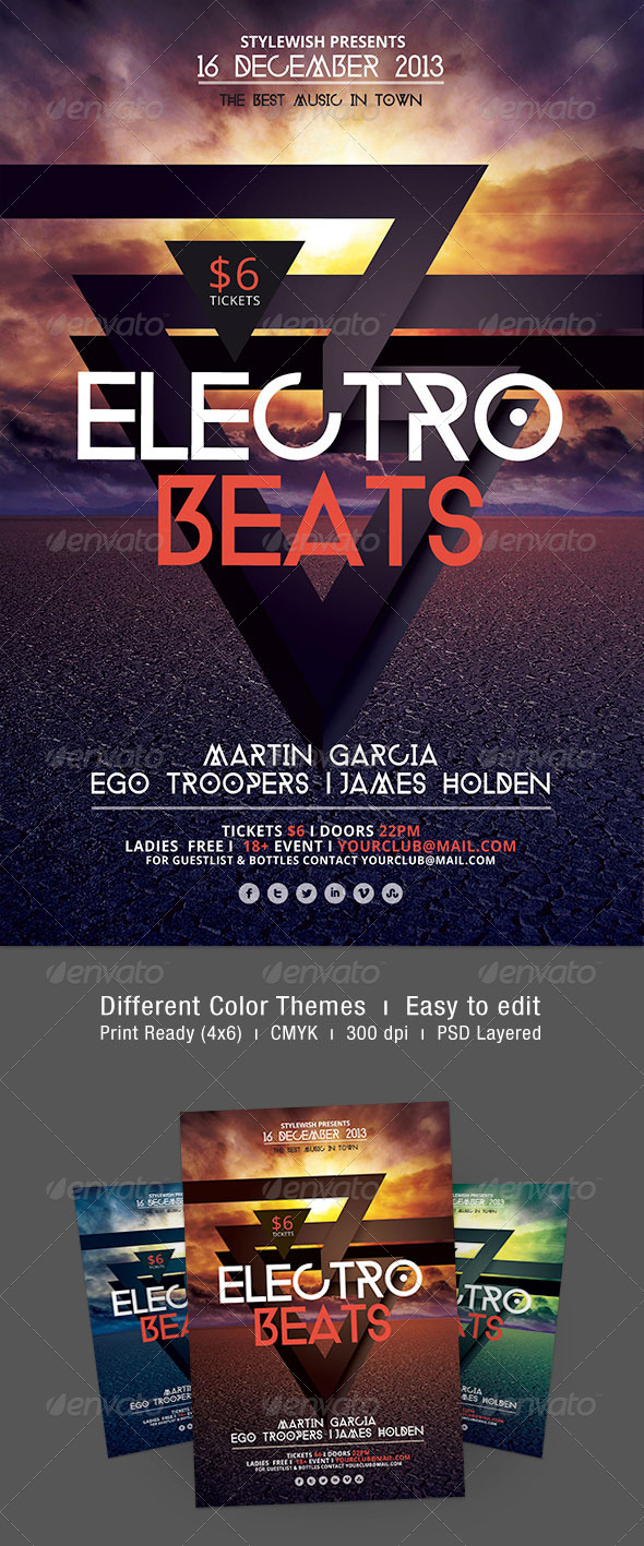 Electro Beats Flyer - Clubs & Parties Events
