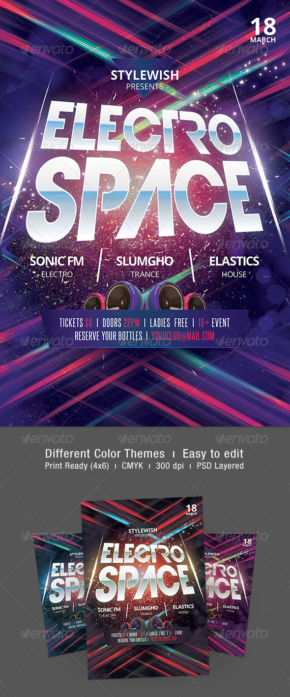 Electro Space Flyer - Clubs & Parties Events