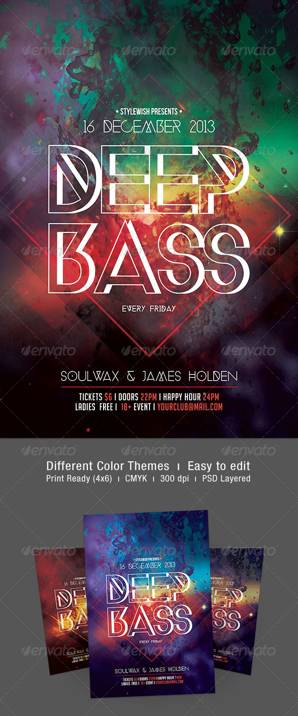 Deep Bass Flyer - Clubs & Parties Events