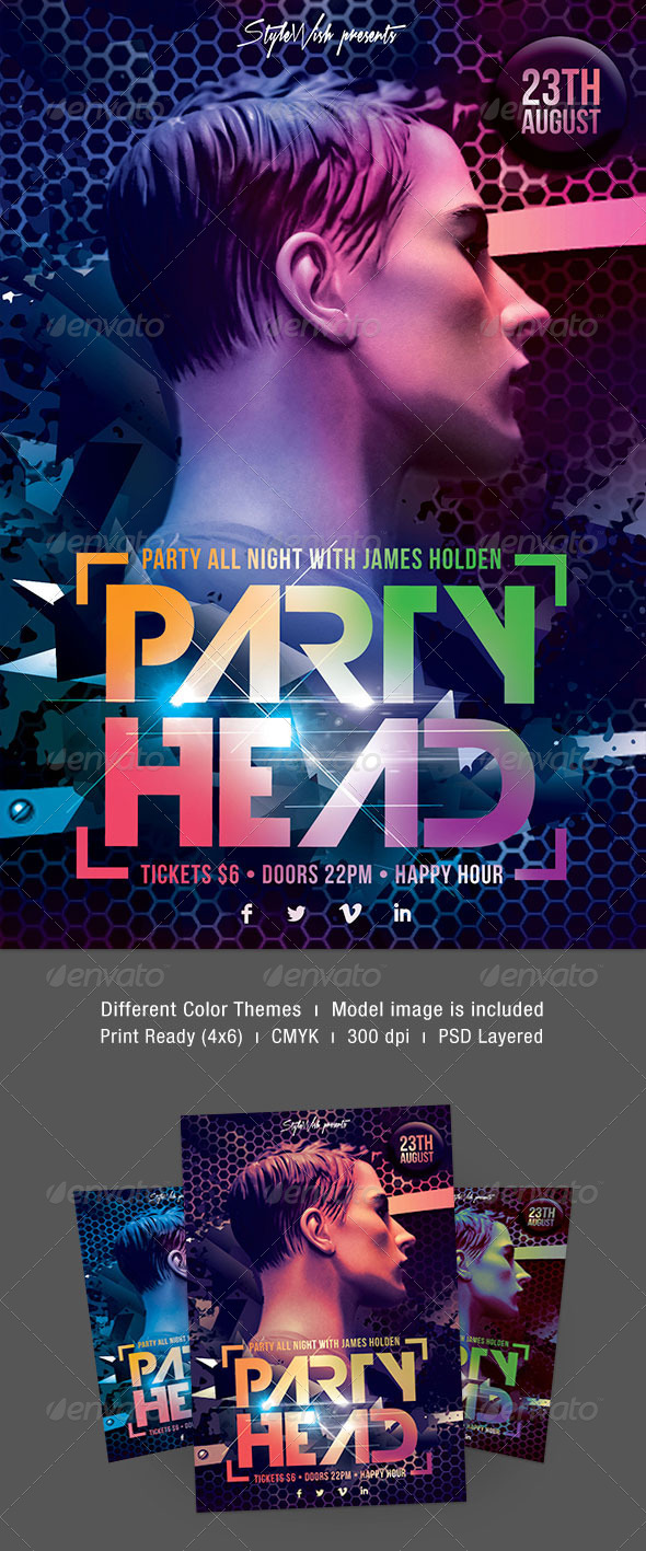 Party Head Flyer - Clubs & Parties Events