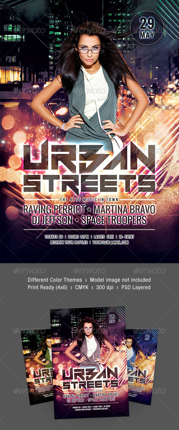 Urban Streets Flyer - Clubs & Parties Events