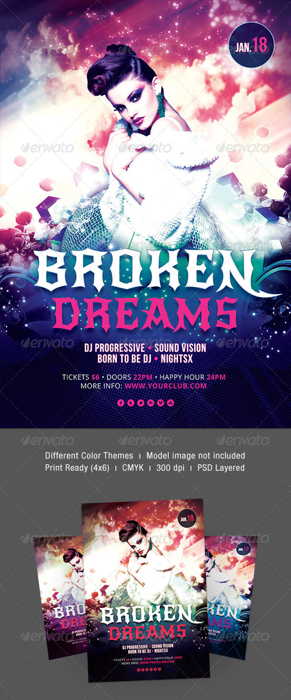 Broken Dreams Flyer - Clubs & Parties Events