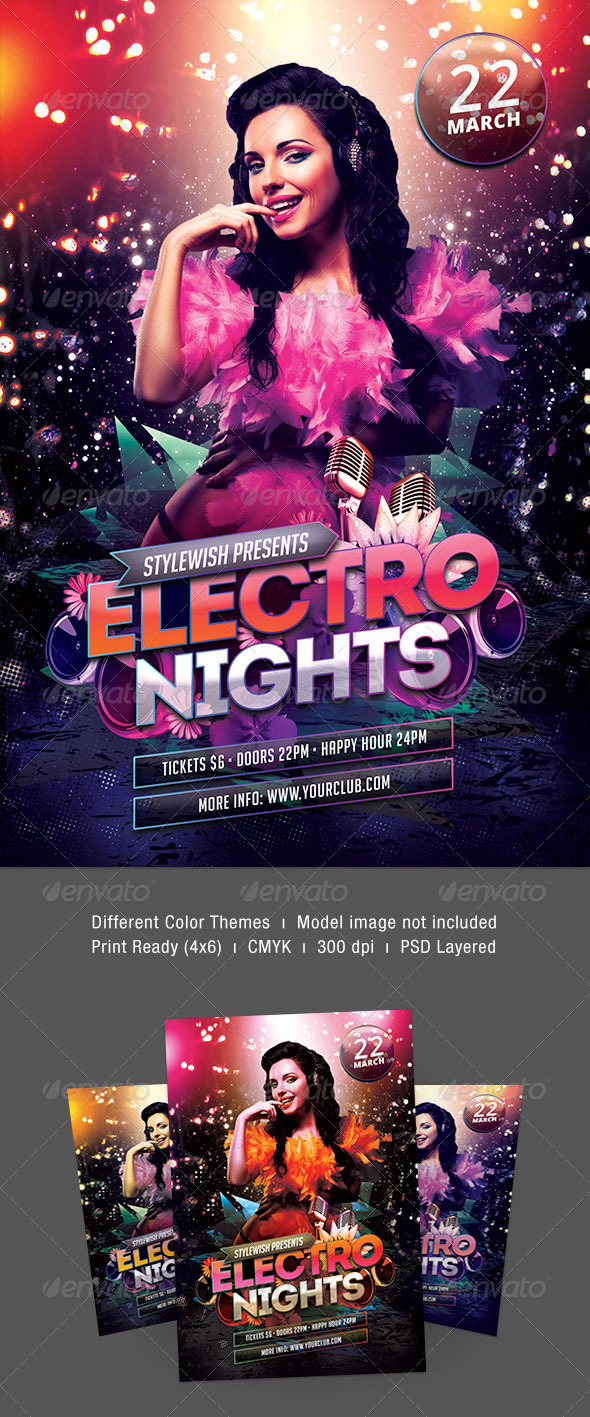 Electro Nights Flyer - Clubs & Parties Events