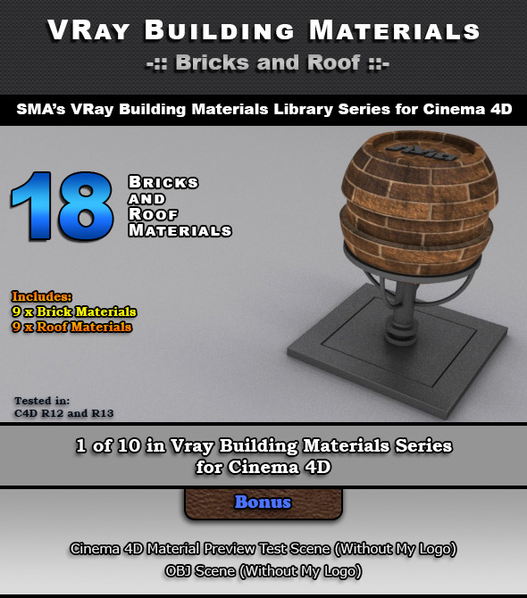 3DOcean 18 VRay Bricks and Roof Materials for Cinema 4D 6965252