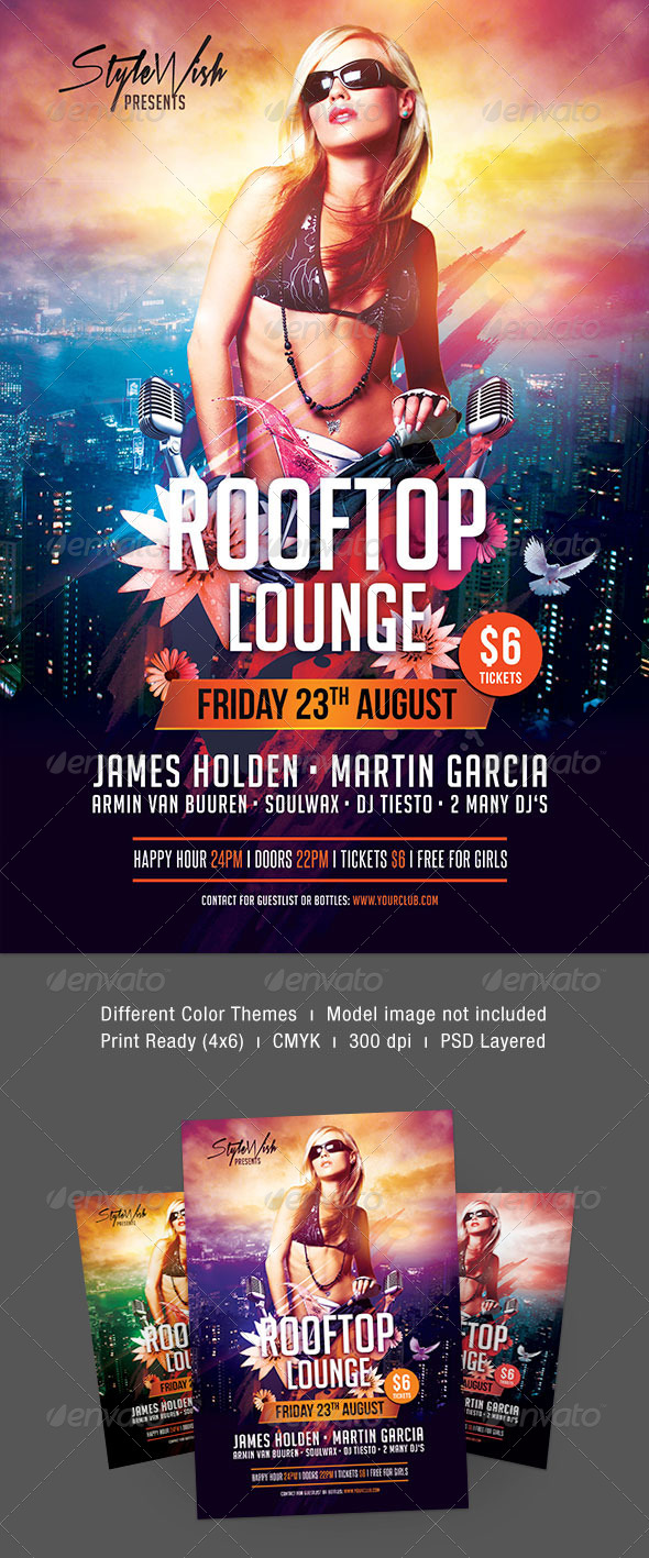Rooftop Lounge Flyer - Clubs & Parties Events