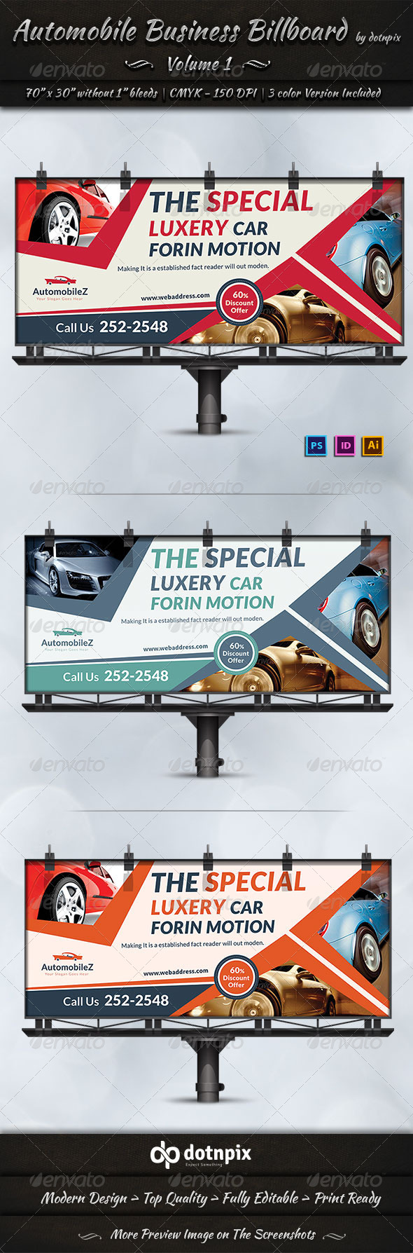 Automobile Business Billboard | Volume 1 - Signage Print Templates