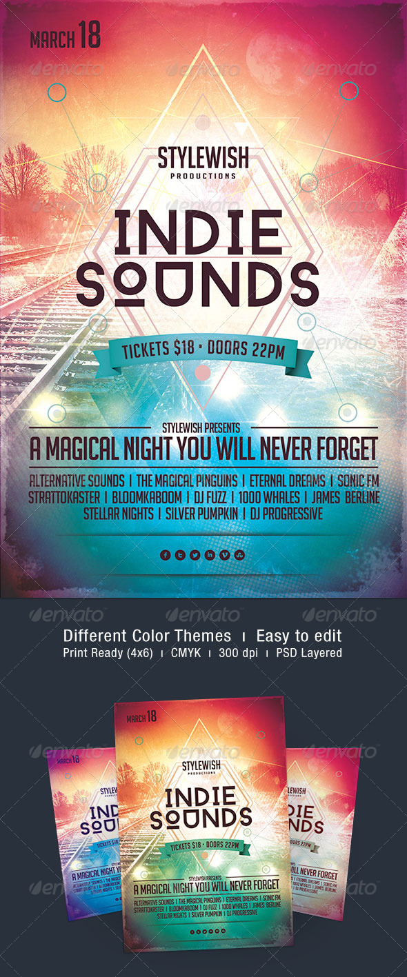 Indie Sounds Flyer - Concerts Events