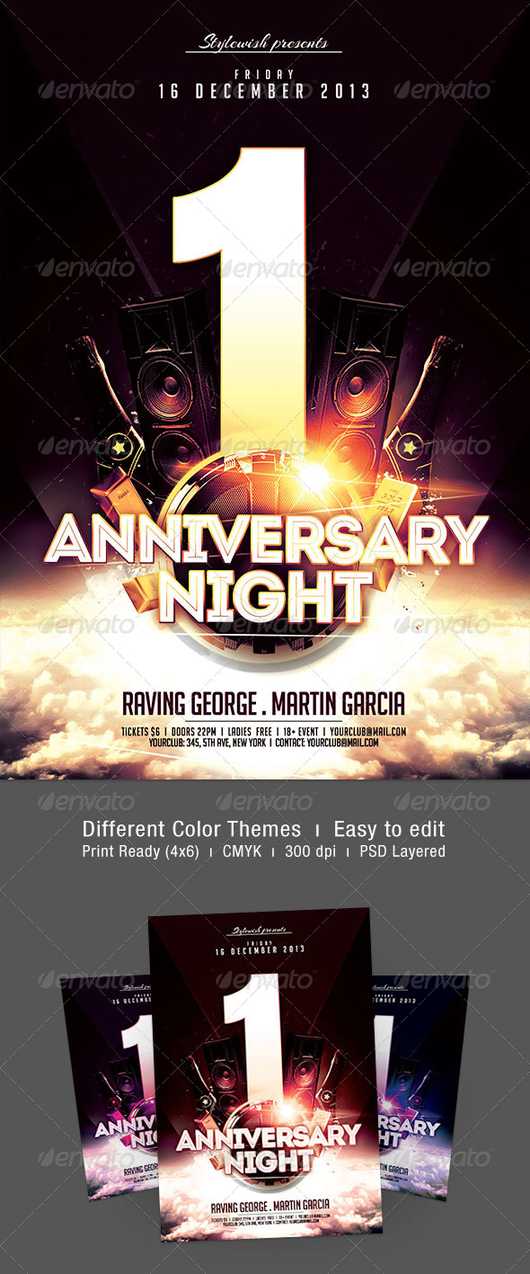 Anniversary Night Flyer - Clubs & Parties Events