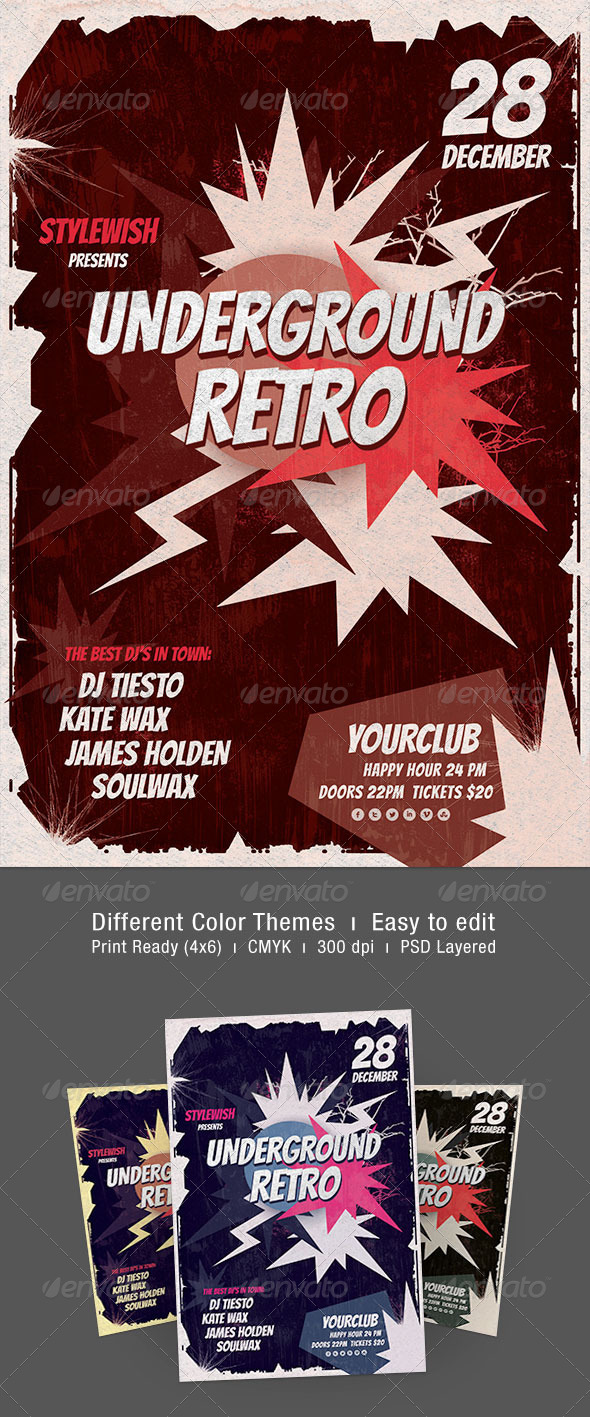 Underground Retro Flyer - Concerts Events