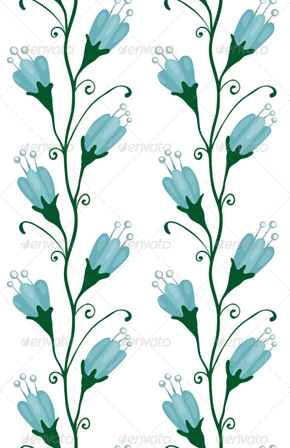 GraphicRiver Bluebell Flowers Seamless Pattern 6965940