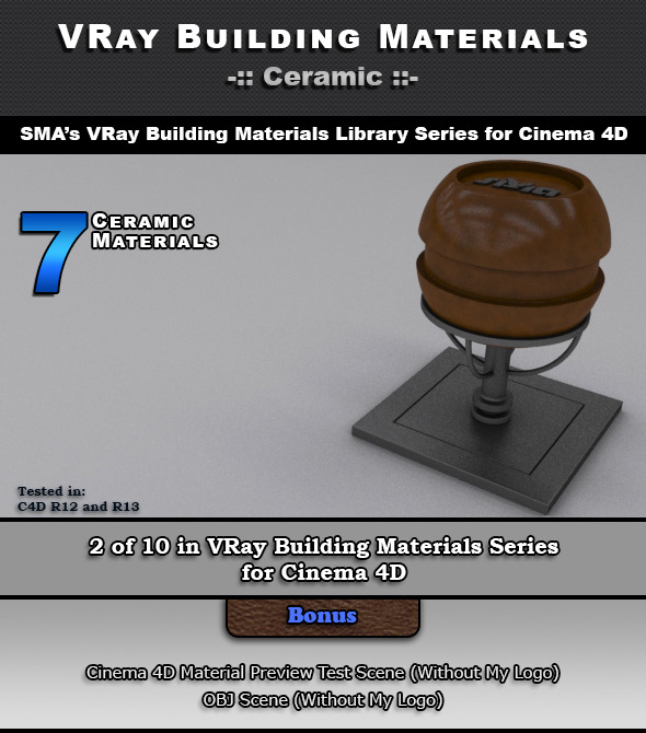 3DOcean 7 VRay Ceramic Materials for Cinema 4D 6966007