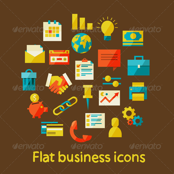 GraphicRiver Flat Business Icons 6966068