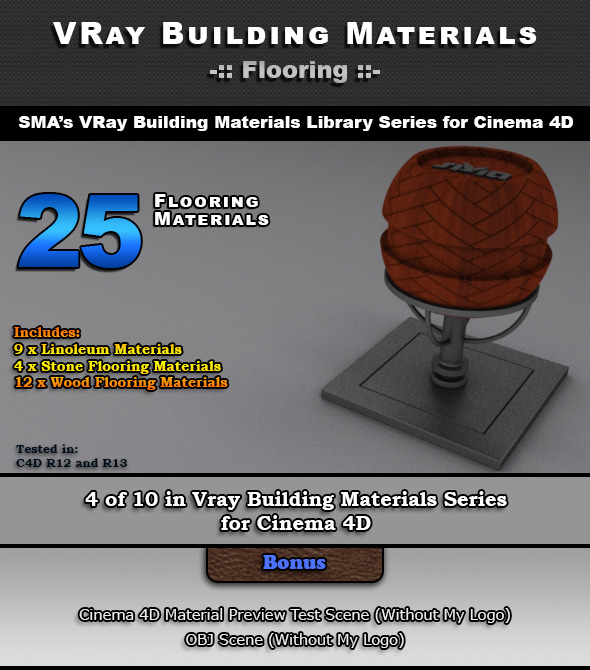 3DOcean 25 VRay Flooring Materials for Cinema 4D 6966122