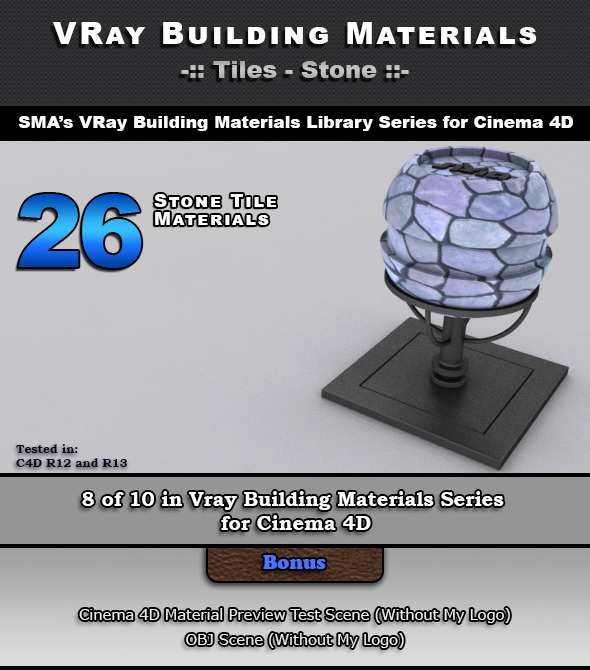 3DOcean 26 VRay Stone Tile Materials for Cinema 4D 6966655