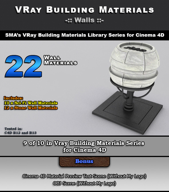 3DOcean 22 VRay Wall Materials for Cinema 4D 6966680