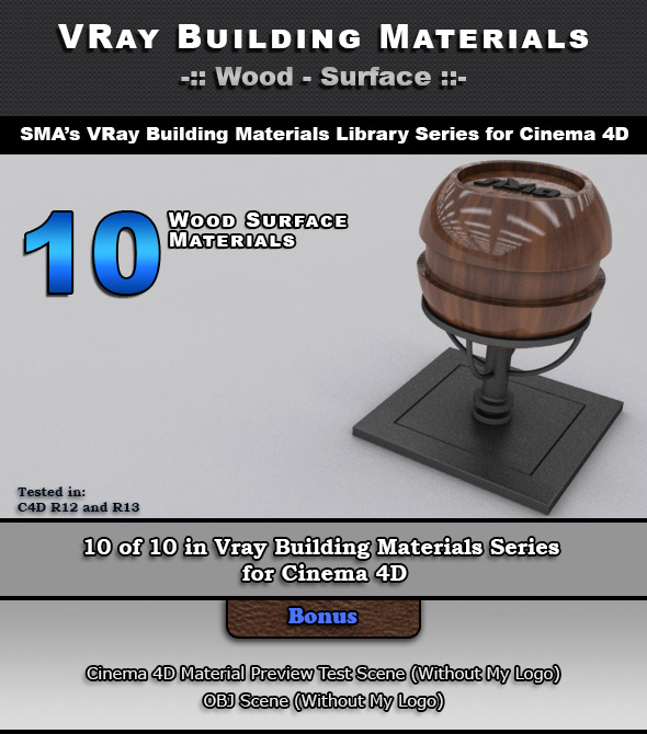3DOcean 10 VRay Wood Surface Materials for Cinema 4D 6966686