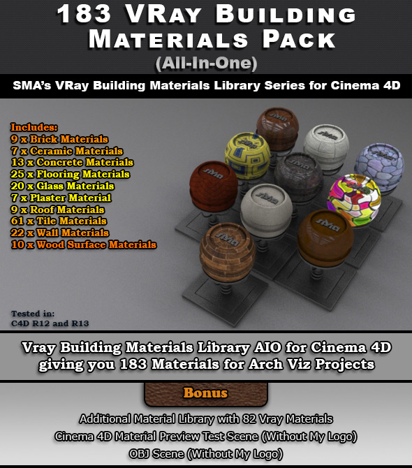 3DOcean 183 VRay Building Materials Pack for Cinema 4D 6967326