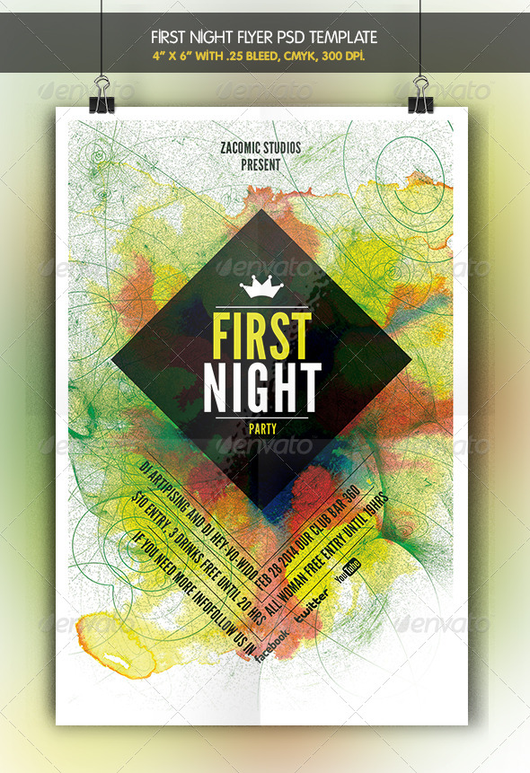 GraphicRiver First Night Flyer Template 6968080